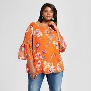Ava & Viv Orange Plus Size Bell Sleeve Floral Top